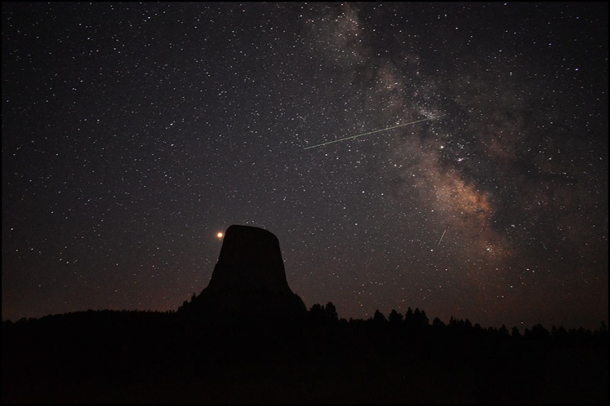 Devils Tower and the Perseid meteor shower